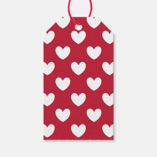 Etiqueta Para Presente Corações brancos e vermelhos da polca