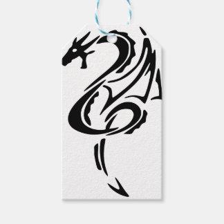 Etiqueta Para Presente Design preto do tatuagem do dragão