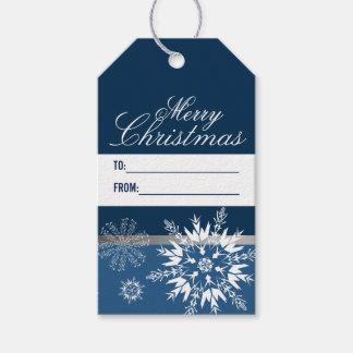 Etiqueta Para Presente Feliz Natal azul elegante