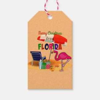 Etiqueta Para Presente Feliz Natal de Florida, divertimento no sol