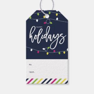Etiqueta Para Presente Feriado brilhante e colorido II das luzes de Natal