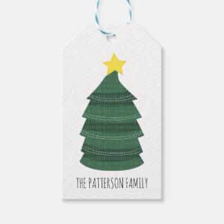 Etiqueta Para Presente Feriado verde da estrela | do amarelo da árvore de