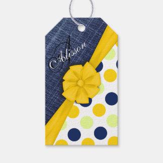Etiqueta Para Presente Fita amarela, tecido de jeans, monograma do teste