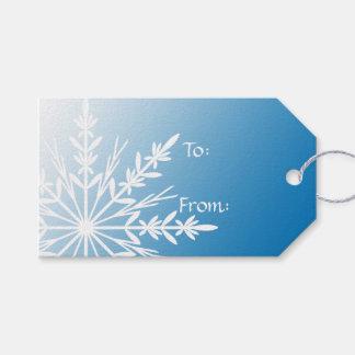 Etiqueta Para Presente Floco de neve branco no azul