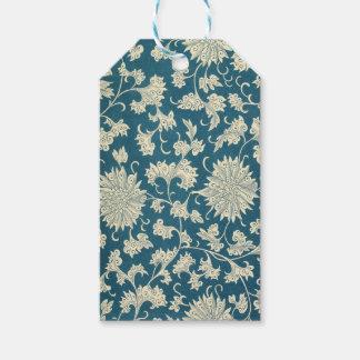 Etiqueta Para Presente Impressão floral azul & branco do vintage