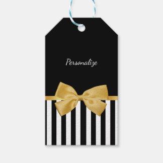 Etiqueta Para Presente Listras preto e branco do arco elegante do ouro