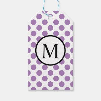 Etiqueta Para Presente Monograma simples com bolinhas da lavanda
