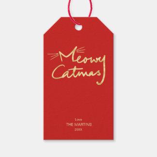 Etiqueta Para Presente Natal vermelho festivo do ouro do falso de Meowy