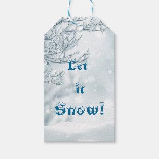 Etiqueta Para Presente O design nevado branco festivo deixou-o nevar
