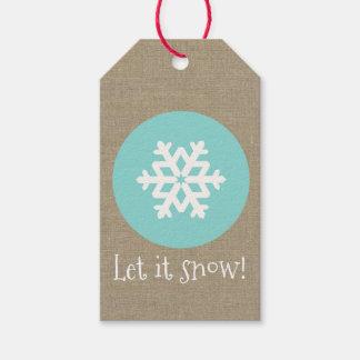 """Etiqueta Para Presente O medalhão do floco de neve do Natal """"deixou-o"""