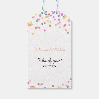 Etiqueta Para Presente Obrigado festivo do casamento dos confetes você