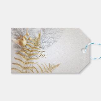 Etiqueta Para Presente Ouro elegante e pássaro e folhas da prata festivos