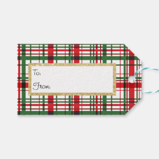 Etiqueta Para Presente Tag do presente da listra da xadrez do feriado