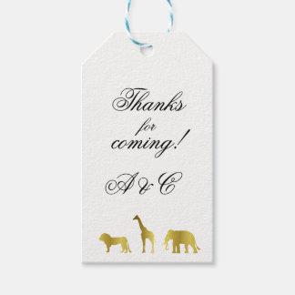 Etiqueta Para Presente Tag do presente dos animais da selva do ouro