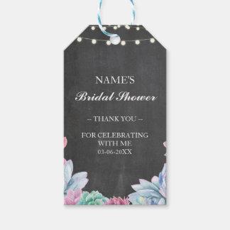 Etiqueta Para Presente Thankyou chá de panela Pastel do Succulent do