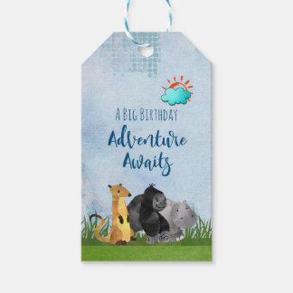 Etiqueta Para Presente Uma aventura grande do aniversário espera animais