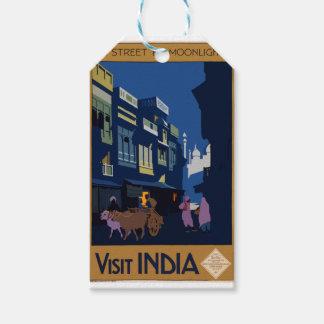 Etiqueta Para Presente Viagens vintage India uma rua pelo luar