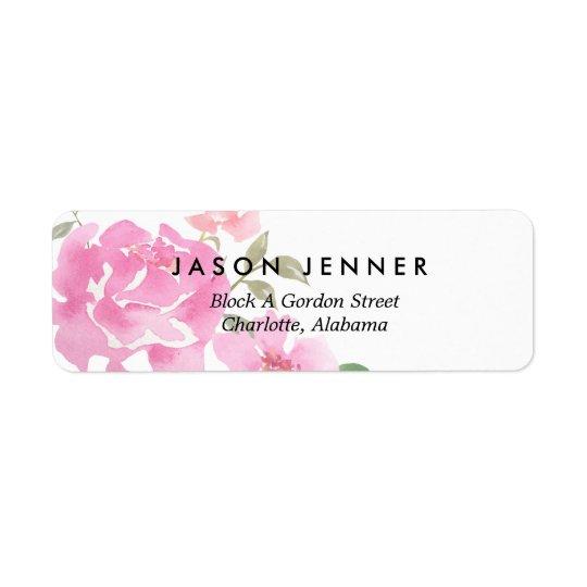Etiqueta Peônias cor-de-rosa florais da aguarela que