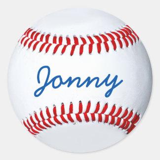 Etiqueta personalizada da foto do basebol adesivo em formato redondo