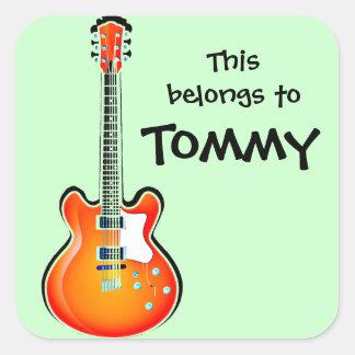 Etiqueta personalizada da guitarra adesivo quadrado