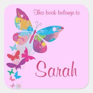 Etiqueta personalizada do Bookplate da borboleta Adesivo Quadrado