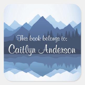 Etiqueta personalizada do Bookplate das montanhas