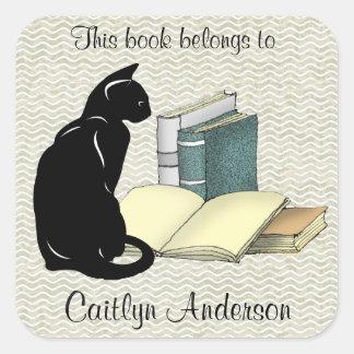 Etiqueta personalizada do Bookplate do gato e dos Adesivo Quadrado