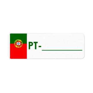 """Etiqueta Portugal da """"estilo da identificação de P Etiqueta Endereço De Retorno"""