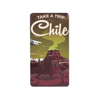 Etiqueta Poster das viagens vintage do vulcão do Chile
