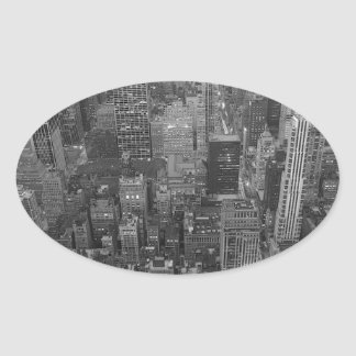 Etiqueta preta & branca do Oval da Nova Iorque Adesivo Oval
