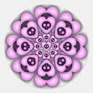 Etiqueta preta da flor dos corações adesivo em formato redondo