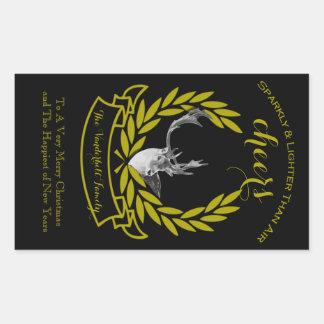 Etiqueta preta da garrafa de vinho do Natal da ren