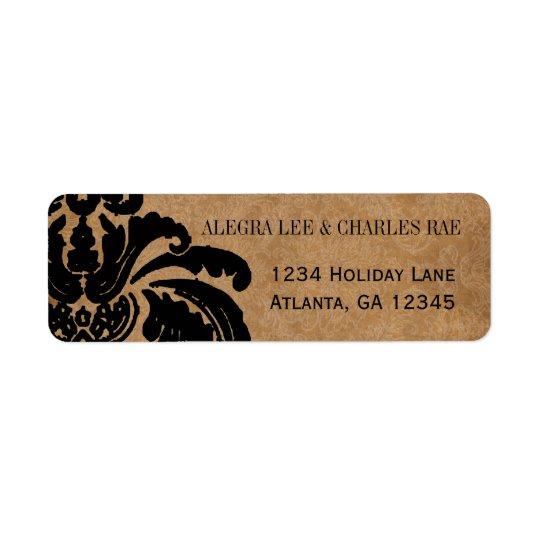 Etiqueta preta do casamento tema damasco do etiqueta endereço de retorno