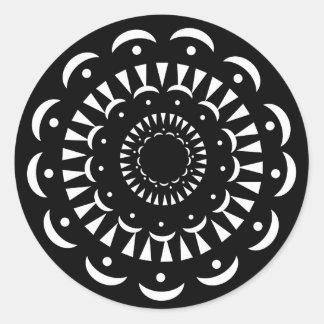 Etiqueta preta do medalhão de Kiri Adesivos Redondos