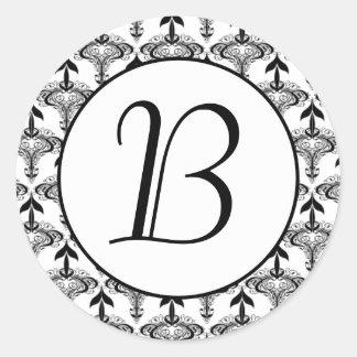 Etiqueta preto e branco da inicial do monograma do adesivo