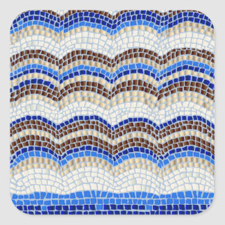 Etiqueta quadrada Matte pequena do mosaico azul