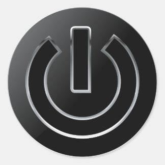 Etiqueta redonda clássica do botão do PODER, Adesivo