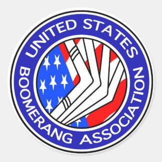 Etiqueta redonda da associação do Bumerangue dos Adesivo