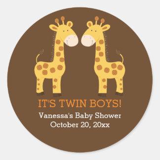 Etiqueta redonda do favor dos gêmeos gêmeos dos