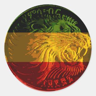 Etiqueta redonda do leão etíope de Rasta