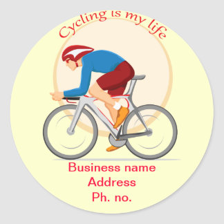 Etiqueta redonda do negócio do ciclismo adesivo
