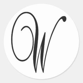Etiqueta redonda inicial de W Adesivo Em Formato Redondo