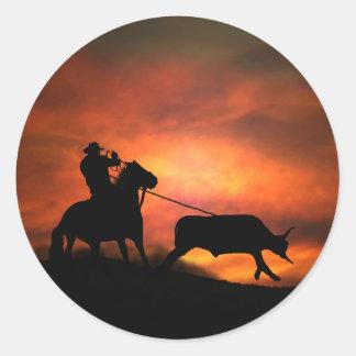 Etiqueta Roping do vaqueiro