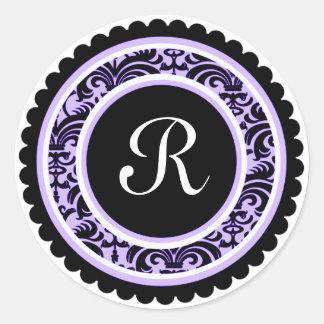 Etiqueta roxa macia da inicial do monograma do adesivo