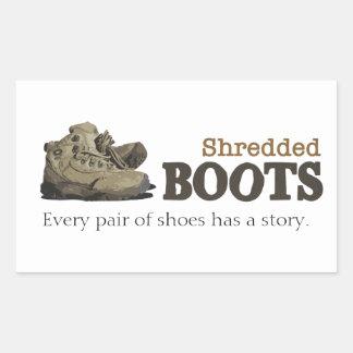 Etiqueta Shredded das botas Adesivo Retangular