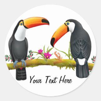 Etiqueta tropical do costume de Toucans