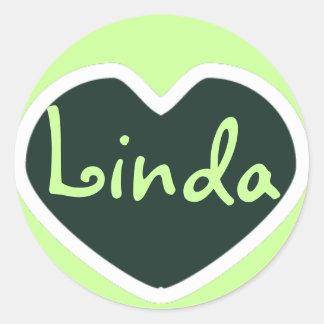 etiqueta verde do nome do coração adesivo redondo