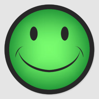 Etiqueta verde do smiley