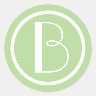 Etiqueta verde e branca inicial Monogrammed da