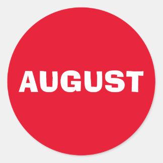 Etiqueta vermelha de improviso de agosto por Janz